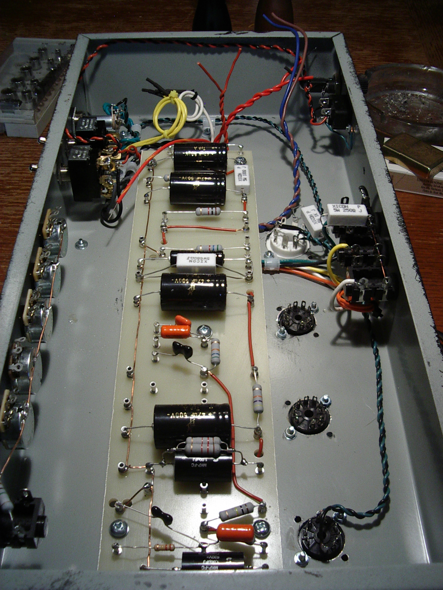 Simon Allaway Hot Bottles Page 2 Wiring Diagrams Besides Emg 89 Pickups Diagram On Board Installed In Chassis Transformer Wires Trimmed Heaters Wired Switches