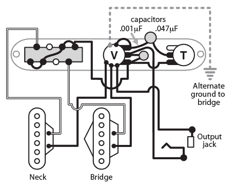 Volume Treble Bleed Bypass Circuit also Wdu Hss5l11 02 further 4 Conductor Humbucker Wiring Diagram likewise Brakes additionally Srv Wiring Harness. on single coil pickup wiring