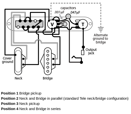 rewiring a telecaster with a four-way switch | hot bottles, Wiring diagram